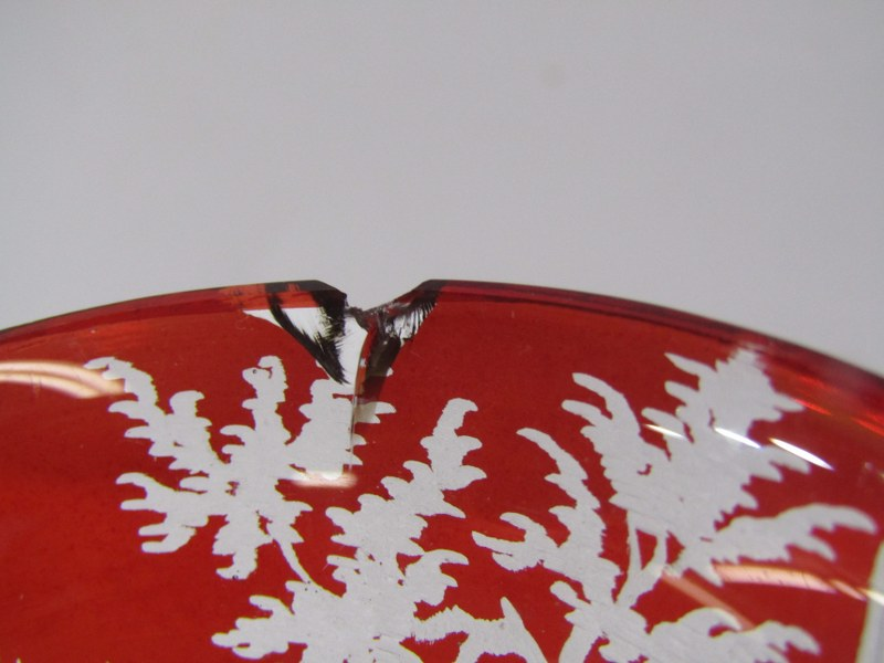 BOHEMIAN GLASS, pair of 19th Century etched ruby glass goblets, with decorated with stag hunts - Image 5 of 5