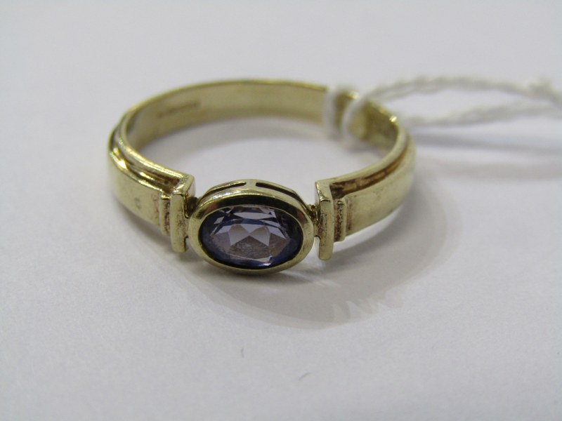 9CT YELLOW GOLD TANZANITE SOLITAIRE RING, size O/P