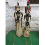 """VINTAGE INDONESIAN PUPPETS, 2 vintage Indonesian puppets on stands, 27"""" height"""