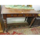 VICTORIAN MAHOGANY TRIPLE DRAWER DESK, original wood knop handles and tapering turned legs with
