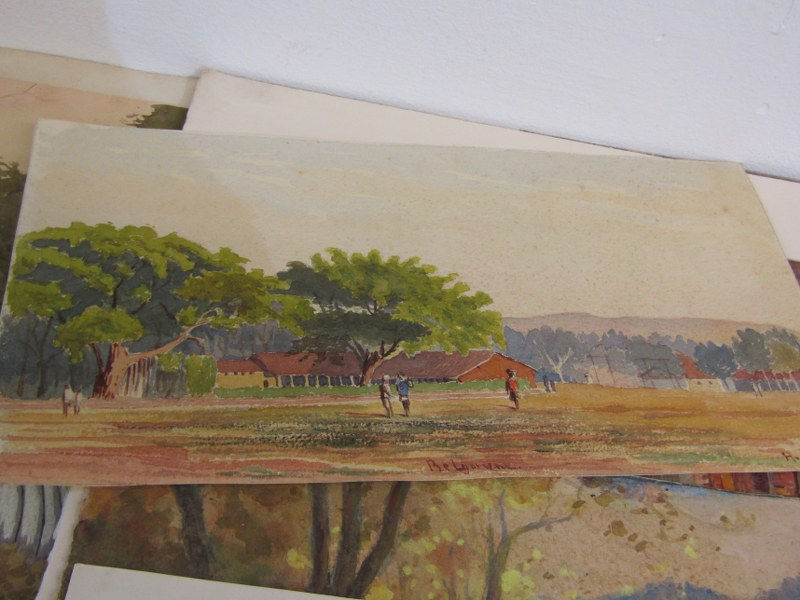 COLONEL H.H. HART, collection of 12 unframed mainly Indian topographical watercolours - Image 3 of 5