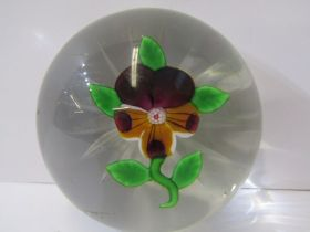 """BACCARAT PAPERWEIGHT, Pansy design on star cut base, 2.5"""" dia (some surface scratches and chips)"""