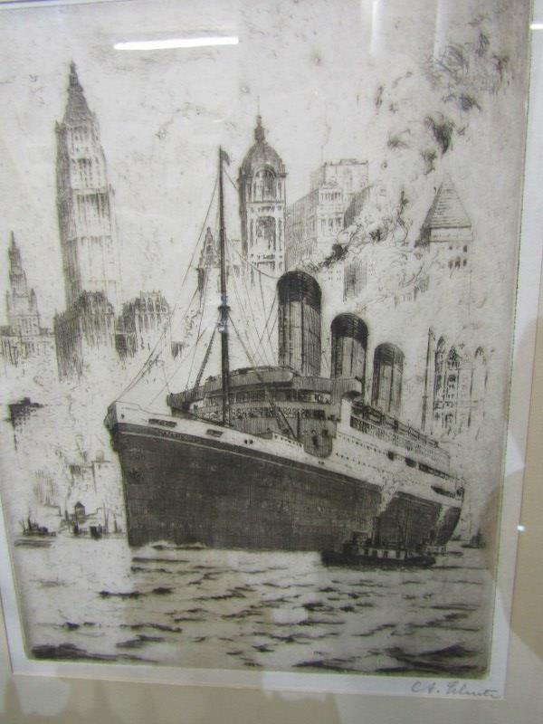 """MARITIME, pencil signed etching """"R.M.S. Majestic off New York"""", 9"""" x 7"""", blind stamp from New York - Image 2 of 3"""