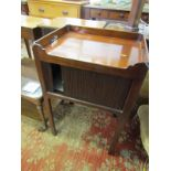 EARLY 19TH CENTURY MAHOGANY COMMODE, rectangular tray top with tambour fronted drawer and