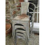 VINTAGE GALVANISED STACKING ARMCHAIRS, 5 vintage garden seats