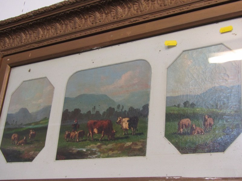 19th CENTURY ENGLISH SCHOOL, pair of oils on canvas triptychs signed Berry, depicting Highland - Image 3 of 3