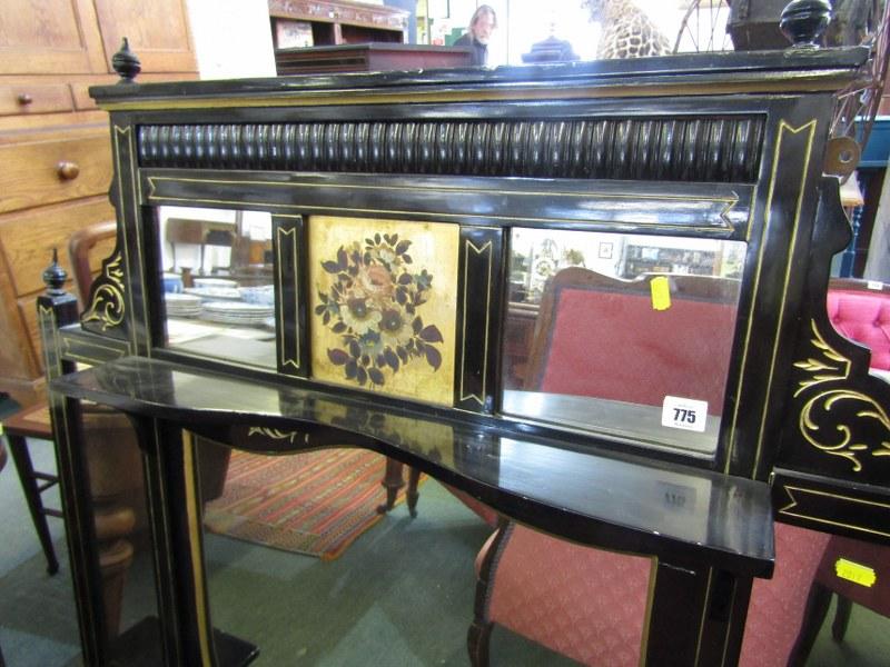 """EDWARDIAN GILT EBONISED OVERMANTEL, floral painted inset panel with bracket shelf details, 47"""" - Image 3 of 3"""