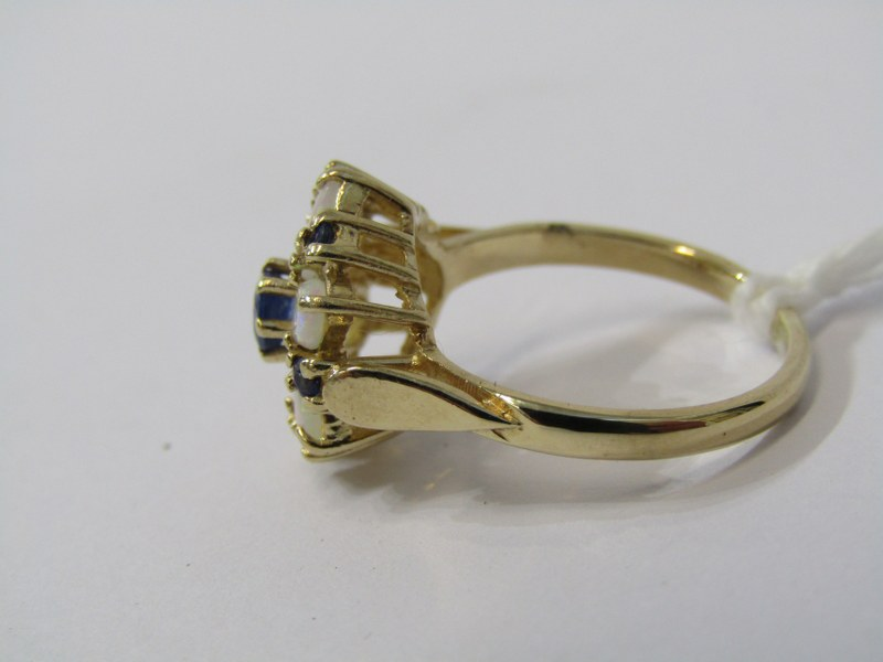 9ct YELLOW GOLD OPAL & SAPPHIRE CLUSTER RING, in the form of a flower, size N - Image 2 of 3