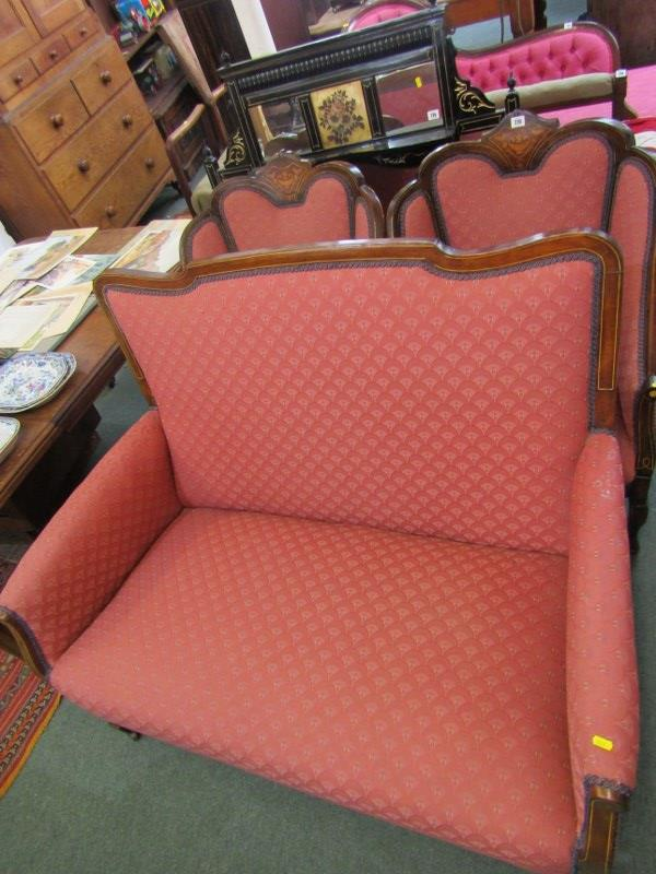 PAIR OF WALNUT MARQUETRY TUB ARMCHAIRS AND MATCHING 2 SEATER SETTEE