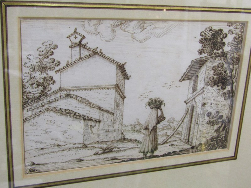 "G. SANTINI, 17th Century sepia pen drawing ""Figure in Italian Landscape"", signed with monogram, 4.5"" - Image 2 of 2"
