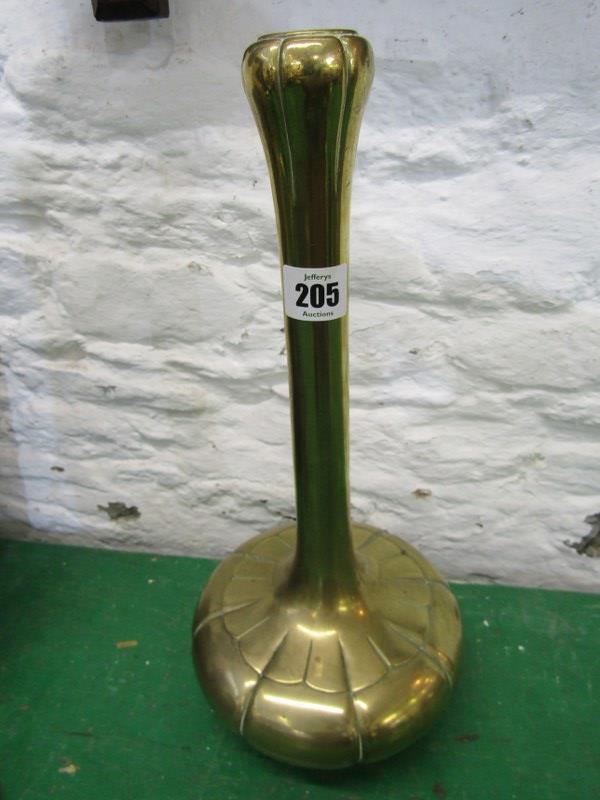 "ORIENTAL METALWARE, plain brass lobed onion bodied 14"" vase"