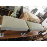 UPHOLSTERED STOOLS, pair of rectangular top cabriole leg foot stools