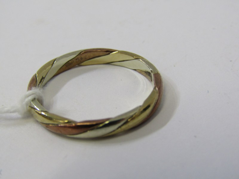 9ct 3 TONE YELLOW, WHITE & ROSE GOLD BAND RING, approx 2.3 grams, size P - Image 3 of 3