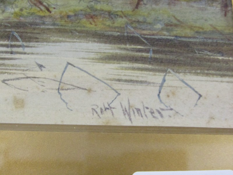 "ROBERT WINTER, pair of signed watercolours ""Near Sudbury on the Stour"" and ""South Bradon, - Image 3 of 4"
