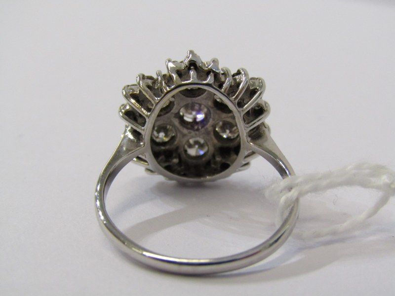 18CT WHITE GOLD 7 STONE DIAMOND CLUSTER RING, approx. 2cts total diamond weight, 5.8grms in - Image 3 of 3