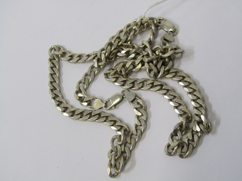 2 SILVER FLAT CURB NECKLACES, combined weight 101grams approx
