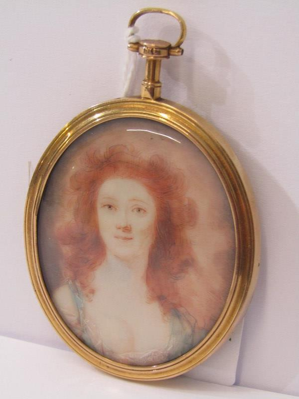 DOUBLE SIDED GOLD FRAMED PICTURE LOCKET with miniature of Young Lady, to the reverse her hair behind