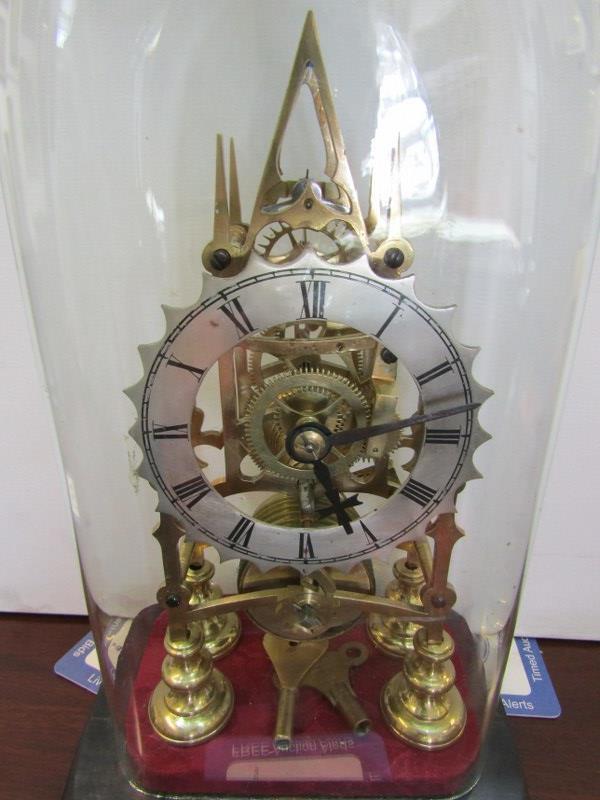 "SKELETON CLOCK, glass domed brass skeleton clock, 11"" height - Image 2 of 3"