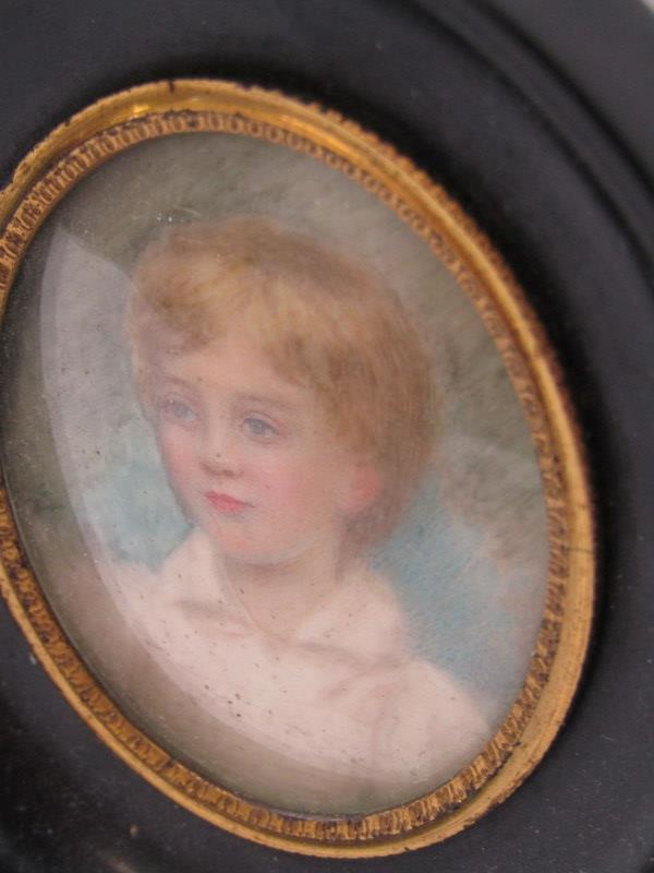 """VICTORIAN PORTRAIT MINIATURE """"Young Boy"""", inscribed on reverse - Image 2 of 3"""