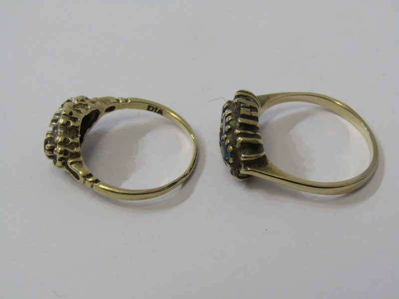 2 x 9ct YELLOW GOLD RINGS, one amethyst the other blue topaz - Image 2 of 2