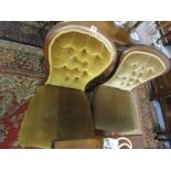 SPOONBACK CHAIRS, pair of mahogany framed gold button back nursing chairs with original castors