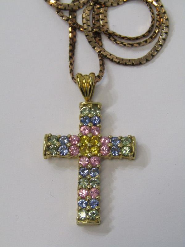 9ct YELLOW GOLD MULTI SAPPHIRE CROSS PENDANT, on 9ct yellow gold fancy necklace