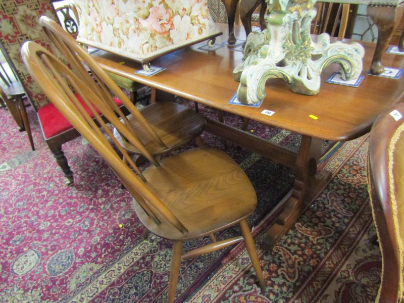 ERCOL, Ercol elm rectangular top dining table with set of 4 spindleback highback dining chairs