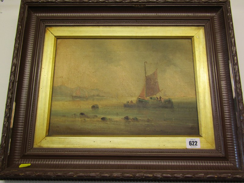 """19th CENTURY ENGLISH SCHOOL, indistinctly signed """"Offloading the Catch"""", 10"""" x 13.5"""""""