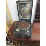 "GRAMOPHONE, black fibre and chrome Decca portable gramophone, 10"" width"