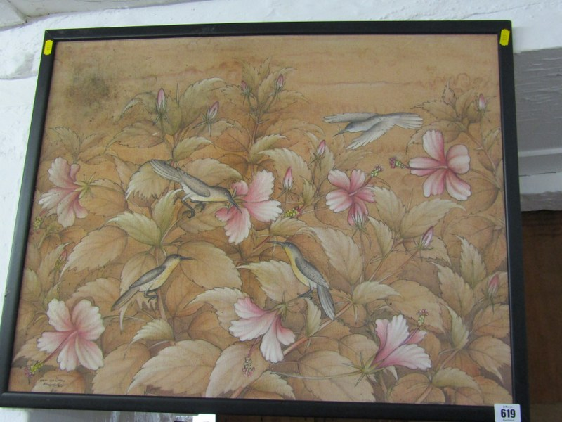 "EASTERN SCHOOL, signed painting on fabric, ""Study of Birds in Blossoming Bush"", 19"" x 25"" - Image 2 of 2"