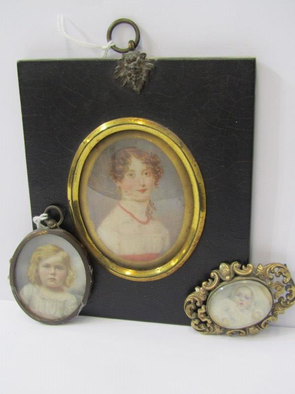 """PERIOD OVAL PORTRAIT MINIATURE, """"Young Lady with coral necklace - Alice Cuppage"""": also Victorian"""