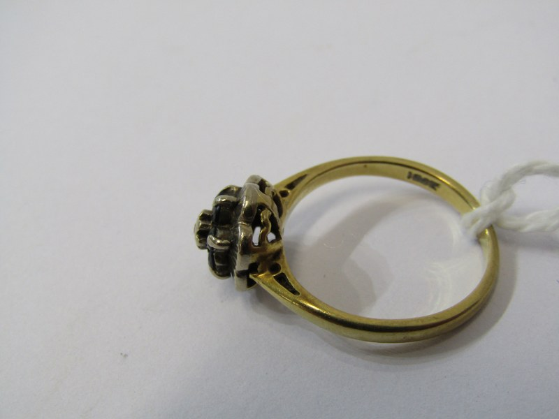 18ct YELLOW GOLD SAPPHIRE & DIAMOND CLUSTER RING, size J/K - Image 2 of 3