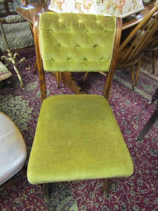 SCROLLBACK HALL CHAIR, green buttonback upholstery on X stretcher