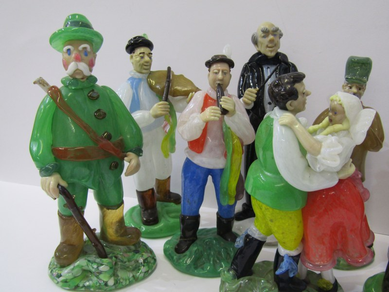 CZECHOSLOVAKIAN GLASS, an interesting collection of 8 coloured glass figures depicting village - Image 3 of 4
