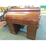 """VICTORIAN MAHOGANY CYLINDER TOP DESK, maple fitted interior with twin pedestals of 6 drawers, 47"""""""