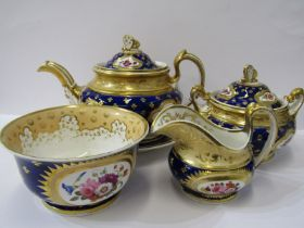 REGENCY RIDGWAY, gilded porcelain tea service, Royal Blue ground with reserves of floral sprays,