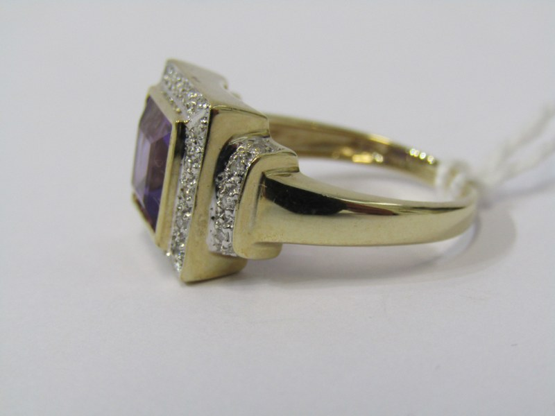 9ct YELLOW GOLD AMETHYST & DIAMOND CLUSTER RING, principal square cut amethyst surrounded by - Image 2 of 3