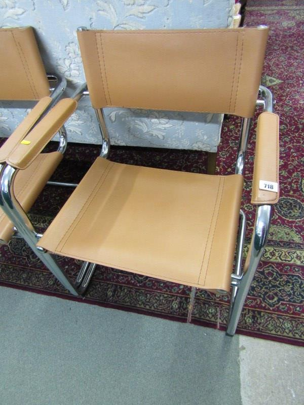 """RETRO, set of 4 """"Bauhaus S34"""" style chrome and tan leatherette dining chairs - Image 2 of 2"""