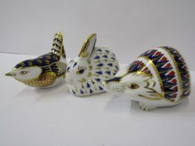 """ROYAL CROWN DERBY PAPERWEIGHTS, collection of 3 gilded paperweights, """"Hedgehog, Rabbit and Wren"""""""