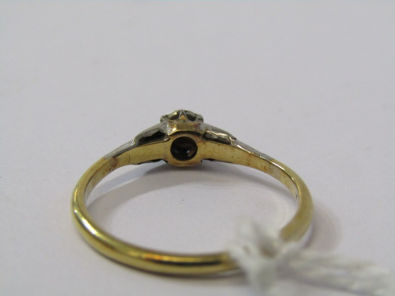 SOLITAIRE RING, 18ct yellow gold and platinum mounted solitaire diamond ring, size 'N' - Image 3 of 3