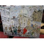 "S. HAYDEN, signed oil on canvas ""Saturday Morning, Market Jew Street, Penzance"", 24"" x 30"""