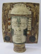 """TROIKA MASK, with incised and textured """"Aztec"""" decoration, indistinct artist monogram, 10"""" height"""