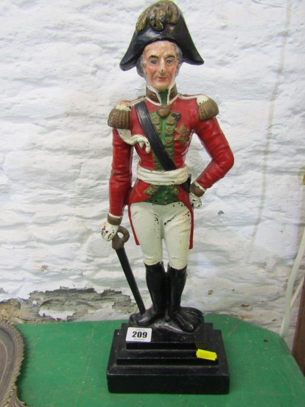DUKE OF WELLINGTON, enamelled cast iron door stop depicting the Duke, together with Victorian bird - Image 2 of 3