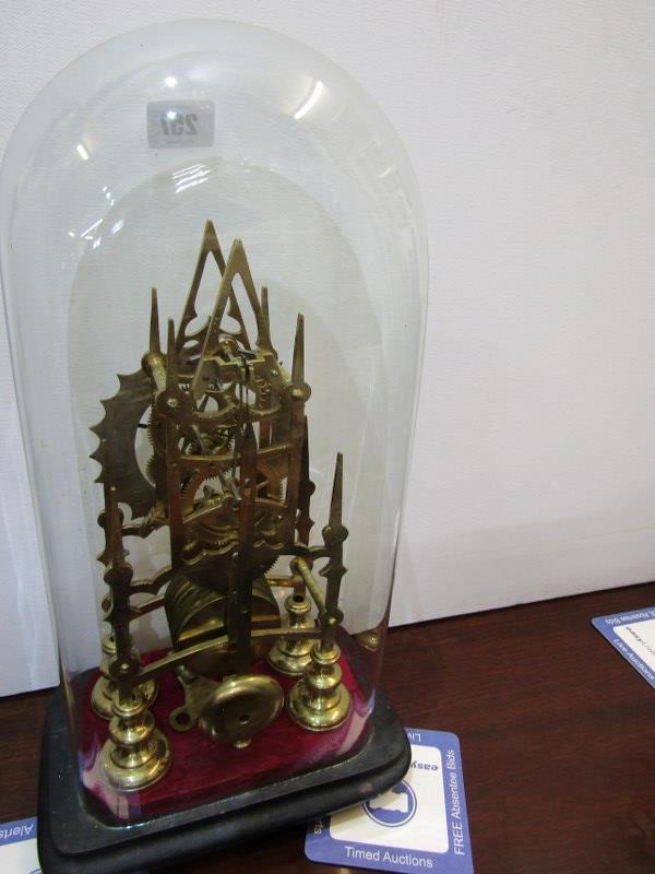 "SKELETON CLOCK, glass domed brass skeleton clock, 11"" height - Image 3 of 3"