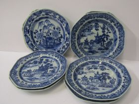 CHINESE PLATES, a set of 7 Chinese underglaze blue octagonal plates, decorated pagodas, 6inchs (