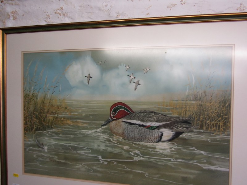 """M. YULE, signed watercolour dated 1974, """"Teal Mallard, Pintail"""", 18"""" x 28"""" - Image 2 of 2"""