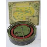 "ANTIQUE FRENCH TIN PLATE MECHANICAL HORSE RACING GAME, 10"" diameter, together with the French Gaming"