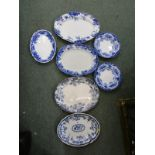MEAT PLATES, collection of 5 various Edwardian and other oval meat plates and pair of flow blue soup