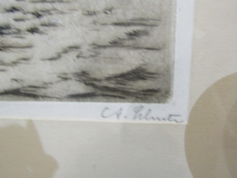 """MARITIME, pencil signed etching """"R.M.S. Majestic off New York"""", 9"""" x 7"""", blind stamp from New York - Image 3 of 3"""