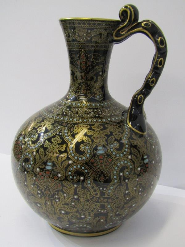 "JACKFIELD JUG, an attractive gilt and jewelled 8"" ewer jug"